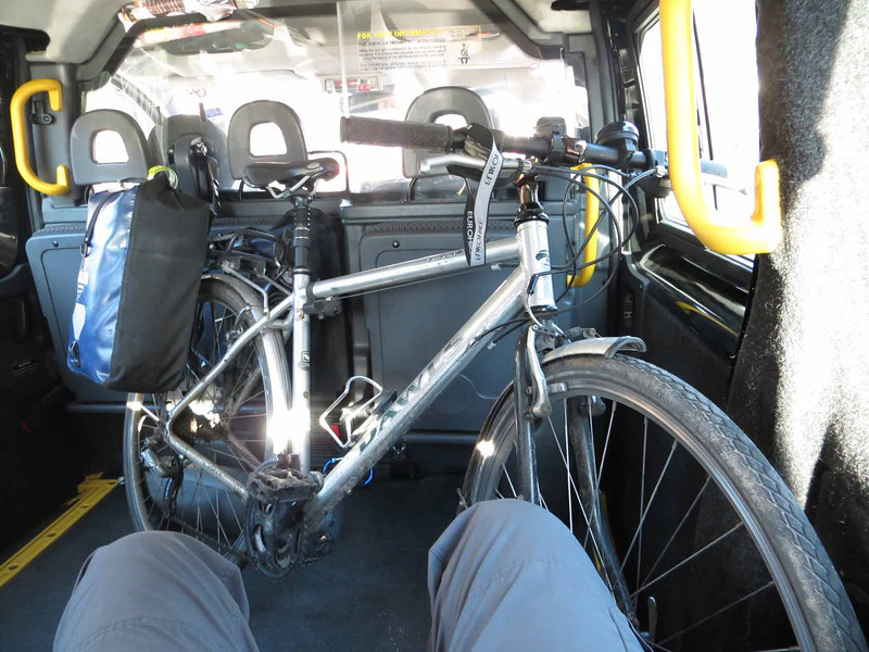 My bike in taxi, Stirling to Edinburgh