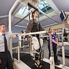Matt Wilks (MS '99/PT), director of inpatient therapy services for Sheltering Arms Physical Rehabilitation Center, and Kari Hershey (D.P.T. '11/PT), physical therapist, perform a session using Sheltering Arms' Lokomat Pro, a robotic walk re-trainer