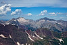 14ers Snowmass Mountain and Capitol Peak to the northwest from the summit of Pyramid Peak; Colorado Elk Range.