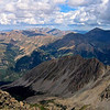 Looking north from the summit of La Plata at Colorado's two highest peaks: Mt. Elbert (right) and Mt. Massive (left-center); Colorado Sawatch Range.