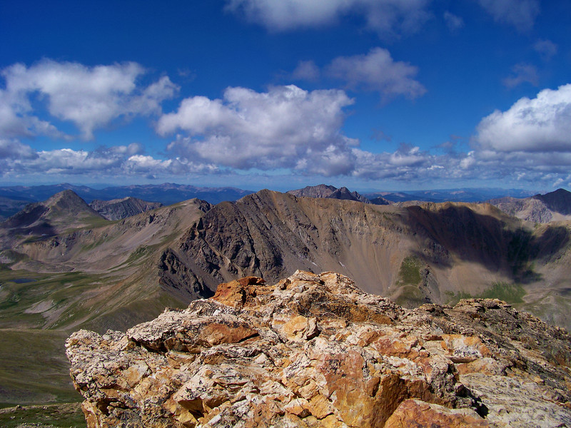 "Missouri Mountain (14,067 ft.), Huron Peak (14,003 ft.) and the ""Apostles"" viewed from the summit of Mt. Belford"