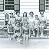 seated on bench: Stacey, Ellen, Nat, Elyse, Rie, Gerard, Teese Maloy.  seated on edge of pool: Nina (?) and Liz Maloy, Allison S. In pool: Joe Maloy