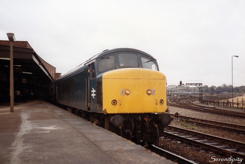 45015<br /> <br /> The 10:05 Liverpool - Newcastle departing York 37 minutes down on 15 October 1983.<br /> <br /> (0834)