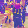 unbc women b-ball 2in saturday dave milne jan 14 00 Nicole Kerr makes a flying pass aganisnt Malaspina