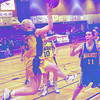 unbc women b-ball 3 in saturday dave milne jan 14 00 Carla Stedham with a flying pass against malaspina