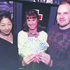 Red Cross-UNBC Students/Wednesday Brent Braaten-April 16/2000  Kazumi Nozawa, left a third year UNBC student from Japan and Marko Kessler, right a third year student from Yugoslavia both members of the UNBC International Students club make a $200.00 donation to Kelli Kryzanowski, Area Coordinator , International Services with the Red Cross. The money was raised from bake sales and selling macrame accessories made by the students. The money will go to help in the relief effort of the Mongolia snowfall disaster. There will be another fund raiser at UNBC Wednesday April 26 in Room 7-238 at &:30 pm.