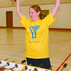 Youth Drop-In/Thursday Brent Braaten-July 10/2002  Lisa Baylis celebrates scoring a goal in fusball? at the YMCA youth drop in centre located in the gym at Kinsman Place. The YMCA with sponcorship from Liesure Services runs youth drop in centres at Kinsman Place and at the Hart Community Centre. The centre at Kinsman Place is open between 1-5 6-10 Monday through Thursday and the Hart location is opern 1-4:30 6-11 Monday through Thursday day. It is open for youth between ages 12-18. There are lots of activites from Nentindo to basketball.