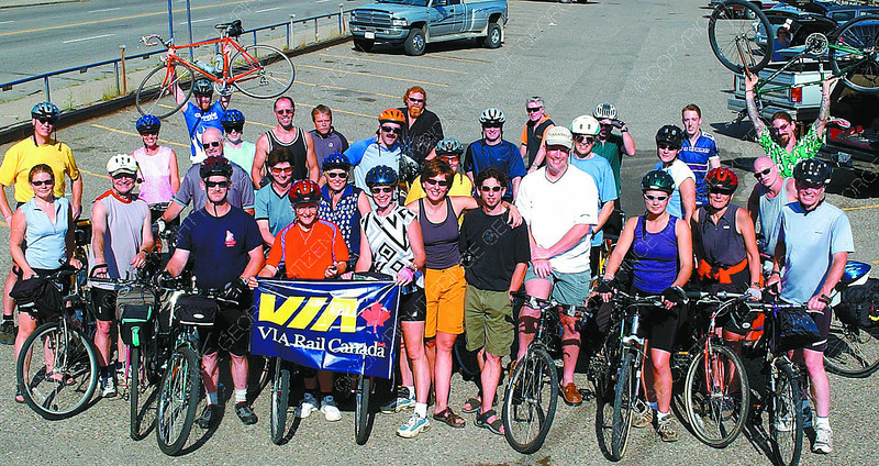 tour de jasper cyclists in thursday dave milne july 24 02 Group of cyclists before they head for Jasper Wednesday