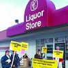 BCGEU liquor store pickets in saturday dave milne nov 29 02 BCGEU members picket 10th Avenue liquor store Friday noon.
