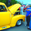 downtown show and shine 3 in monday dave milne june 20 04 Randy Hanson's brilliant yellow 1952 Chec pickup with a 454 turbo engine got a lot of attention atg the Show and Shine. Downtown streets were closed off for the weekend and packed with classic cars, hot rods and bikes for the annual Show and Shine.