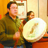 Native Drummer Conference/Friday Brent Braaten-Nov 18/2004  Bruce allan drums at the start of a news conference.