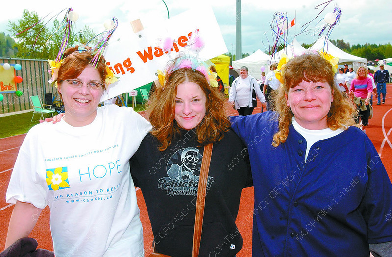Wing Walkers/Cancer Walk/Tuesday Brent Braaten-May 7/2005  Jody Charette, Desirae McMurray and Penny Dray all members of the PG Airport team the Wing Walkers.