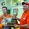 lacrosse alcan cup trophy 1 in monday dave milne aug 21 05 Steamers captain Dave Bennett accepts Fred Doig Trophy from Fred Doig.