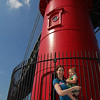 Mom and Annabelle pose for a picture at the Little Red Lighthouse.