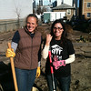 NYJL Volunteers Nina Wainwright and Jill Annitto cleaning up a community garden on Beach 91st Street, Rockaway. NYJL Catholic Charities Rockaway Clean-up: November 17, 2012.