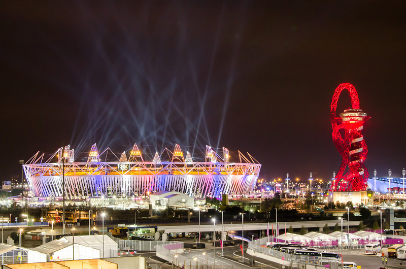 Olympic stadium and The Orbit during London Olympics opening ceremony (2012-07-27)