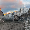 7 shot Panorama of a snowy Yosemite with some glow on El Capitan