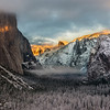 Snow, fog, and beautiful light on El Capitan. Sunset casts Half Dome in a yellow hue as the clouds cover Clouds Rest (quite aptly named)