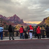The crowd watching the sunset at The Watchman