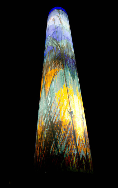 "Day 16 - 16 January 2012<br /> ""Prairie Tower"" is the largest Italian glass mosaic tile mural in the United States, and pays homage to the history of the native Iowa prairie.  The tower is actually a functioning water tower."