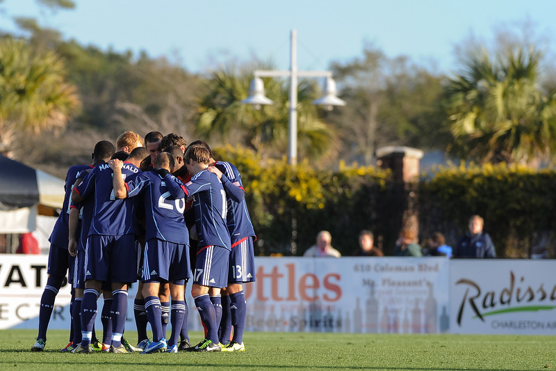 Chicago Fire huddle prior to the start of the match during an MLS exhibition between the Chicago Fire and the Houston Dynamo during opening night of the Carolina Challenge Cup at Blackbaud Stadium.
