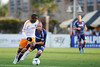Houston Dynamo midfielder Boniek Garcia (27) tries to keep the ball away from Chicago Fire midfielder Joel Lindpereduring (26) an MLS exhibition between the Chicago Fire and the Houston Dynamo during opening night of the Carolina Challenge Cup at Blackbaud Stadium.