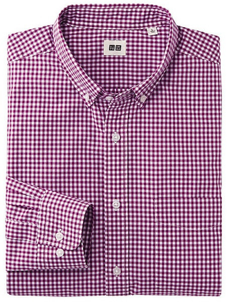 2013-12-14 Uniqlo Extra Fine Cotton Broadcloth Check Long Sleeve Shirt $19.90