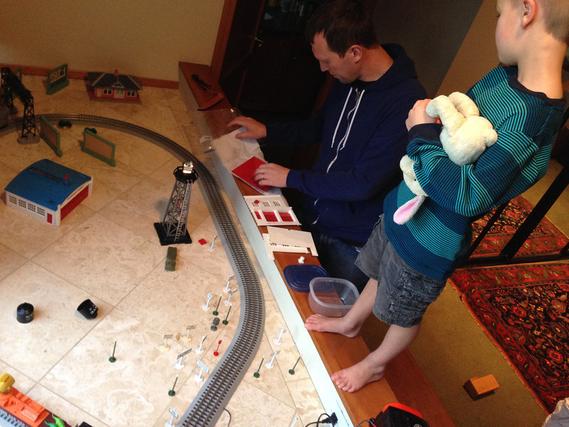 Setting up the train with the new parts from Grampa!