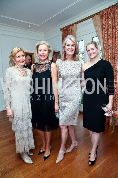 Evelyn DiBona, Nina Pillsbury, Sydney McNiff Johnson, Trina Sams-Manning. Photo by Tony Powell. Alliance Francaise Educational Initiatives Benefit Dinner. French Ambassador's Residence. April 11, 2013