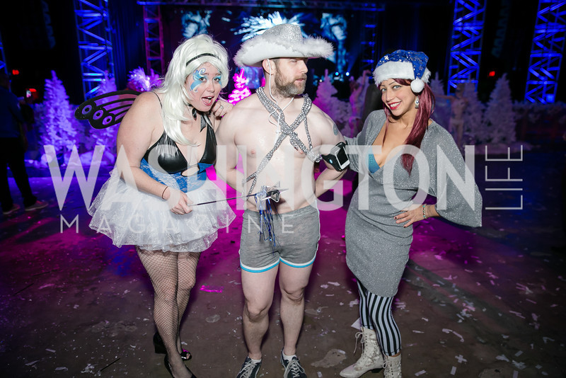 JoAnn Smith, Kevin Nolan, Aviv Ariel. Photo by Alfredo Flores. Art Soiree 4th Annual Winter Wonderland Show. Echostage‏. December 8, 2013.