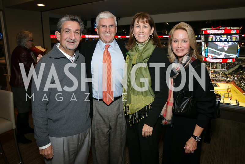 Ted Leonsis, Gen. George Casey, Sheila Casey, Lynn Leonsis. Photo by Alfredo Flores. On Behalf of Sandy Hook Promise, Newtown, CT. Verizon Center. December 2, 2013.