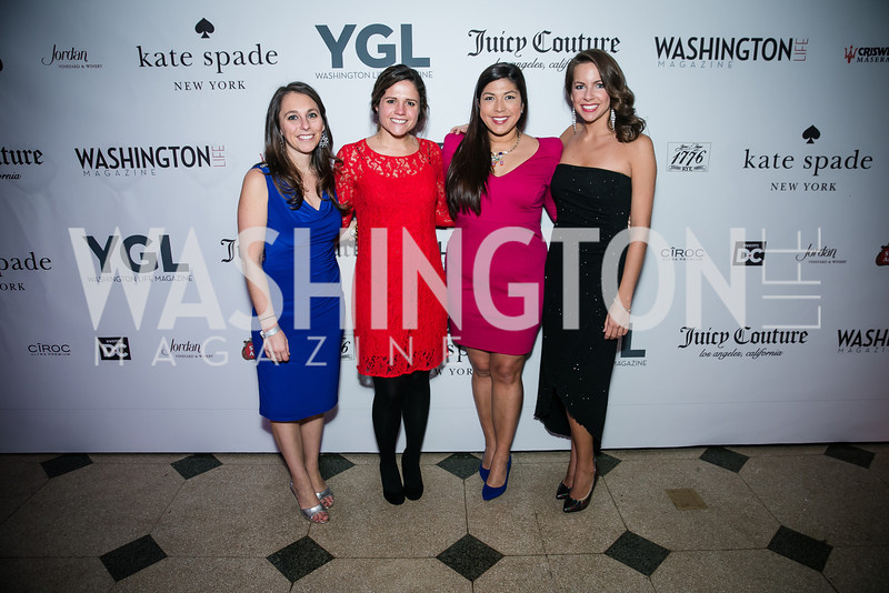 Paula Mannarino, Hallie Grogg, Virginia Early, Megan Robertson. Photo by Alfredo Flores. The Young and The Guest List Party 2013. Carnegie Library. December 11, 2013.
