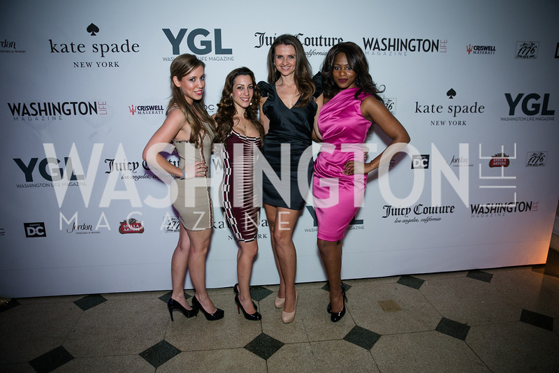 Alessandra Beggiato, Anastasia Dellaccio, Jana Sedlakova, Sarah Hillware. Photo by Alfredo Flores. The Young and The Guest List Party 2013. Carnegie Library. December 11, 2013.
