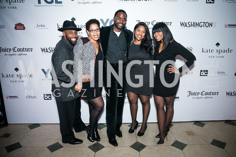 DJ Ty, Latoya Lewis, Andre Wells, Lauren Reed, Ashley Patton. Photo by Alfredo Flores. The Young and The Guest List Party 2013. Carnegie Library. December 11, 2013.CR2