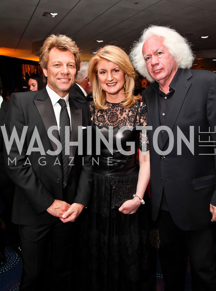 Jon Bon Jovi, Arianna Huffington, Leon Wieseltier. Photo by Tony Powell. WHC Pre Parties. Hilton Hotel. April 27, 2013