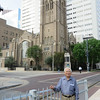 Dad in front of the Methodist Church