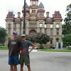 Daniel and Beck in front of the Courthouse in Lockhart, TX
