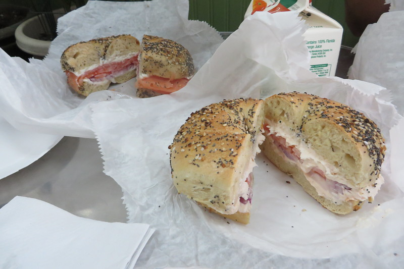 Bagels with Lox, Onions, and Tomatoes
