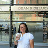 Quinn enjoying an Iced Chai Tea with Soy Milk at Dean and DeLucca