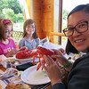 Quinn enjoying her Maine Lobster
