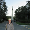 Beck in front of the Sather Tower-The Campanile