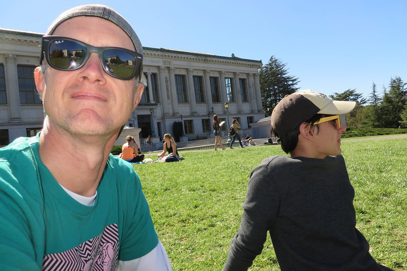 Taking a break in front of Doe Memorial Library