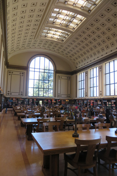 Inside the main reading room of Doe Memorial Library