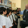 Media Stars, a program that introduces new students to library services, debuted Tuesday, September 2, 2014<br /> <br /> Pictured are the library staff along with Ms. Menocal's 2nd period. The tour was led by Mr. Eugene Zoller.