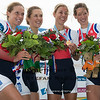 World Championship Rowing<br /> Amsterdam<br /> 29 August 2014<br /> <br /> Medal ceremony<br /> women's lightweight quadruple sculls<br /> 1. NED<br /> 2. AUS<br /> 3. GER<br /> <br /> Photo: Stefan Racila