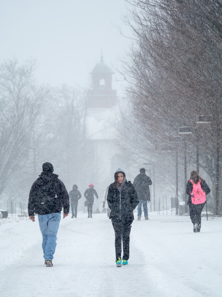 2014; campus; snow; students