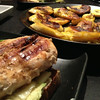 Giant chicken sandwich with plantains