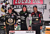 Scott Bloomquist with Steve Francis and Earl Pearson,Jr. in Victory Lane
