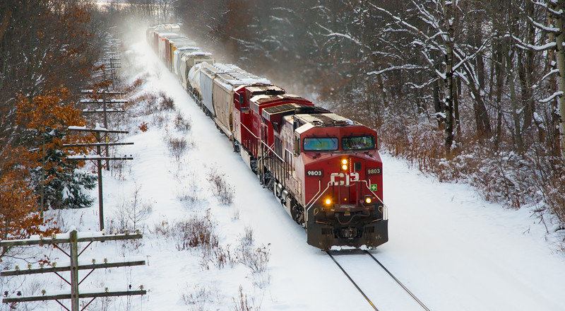 Northbound CP train 253 from County Road 38A bridge in East Worcester, NY.