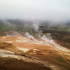 The Hevirir geothermal area, as seen from up on the Viti crater